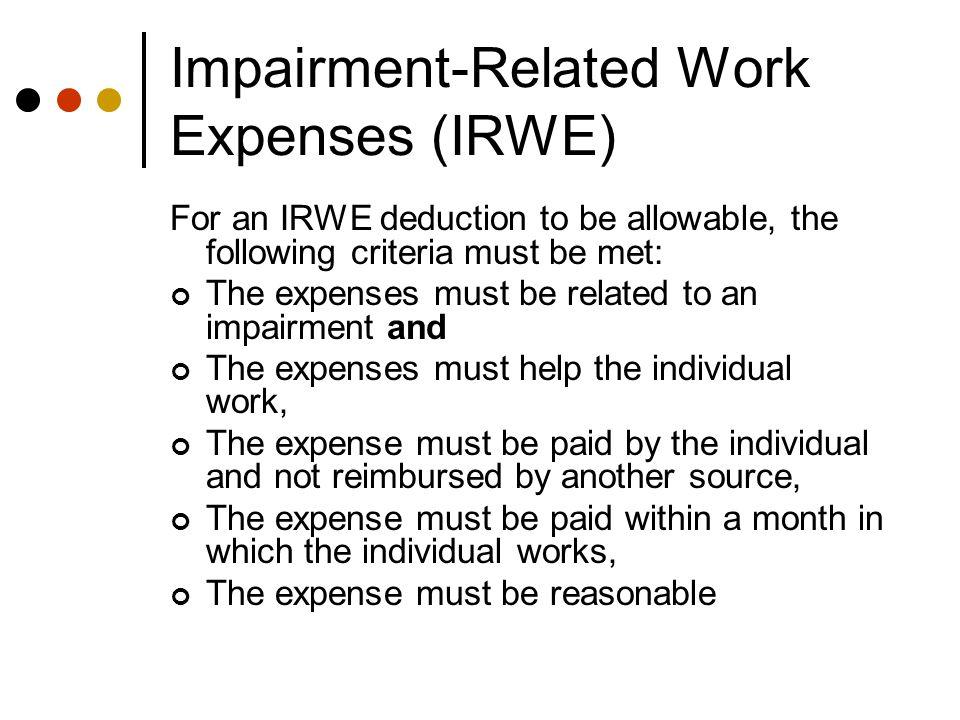 IRWE Example Paul gets $674 in SSI.