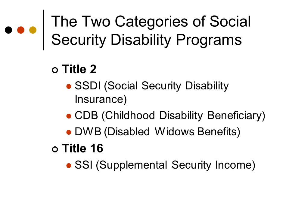 The Two Categories of Social Security Disability Programs Title 2 SSDI (Social Security Disability Insurance) CDB (Childhood Disability Beneficiary) DWB (Disabled Widows Benefits) Title 16 SSI (Supplemental Security Income)