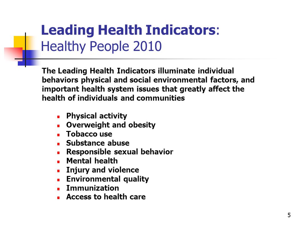 5 Leading Health Indicators: Healthy People 2010 The Leading Health Indicators illuminate individual behaviors physical and social environmental factors, and important health system issues that greatly affect the health of individuals and communities Physical activity Overweight and obesity Tobacco use Substance abuse Responsible sexual behavior Mental health Injury and violence Environmental quality Immunization Access to health care