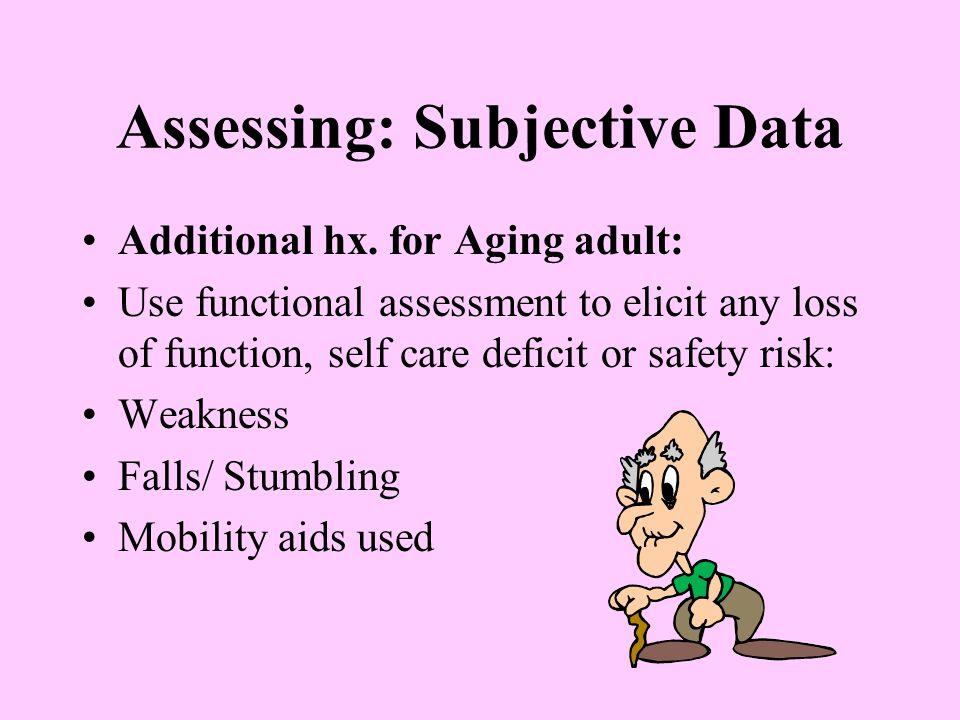 Assessing: Subjective Data Additional hx.