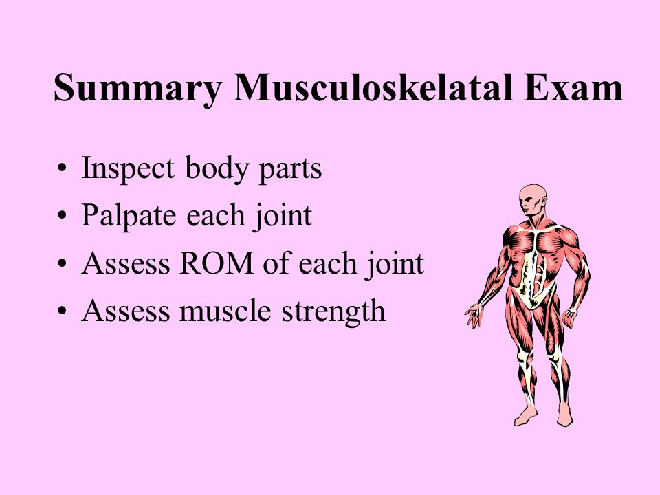 Summary Musculoskelatal Exam Inspect body parts Palpate each joint Assess ROM of each joint Assess muscle strength