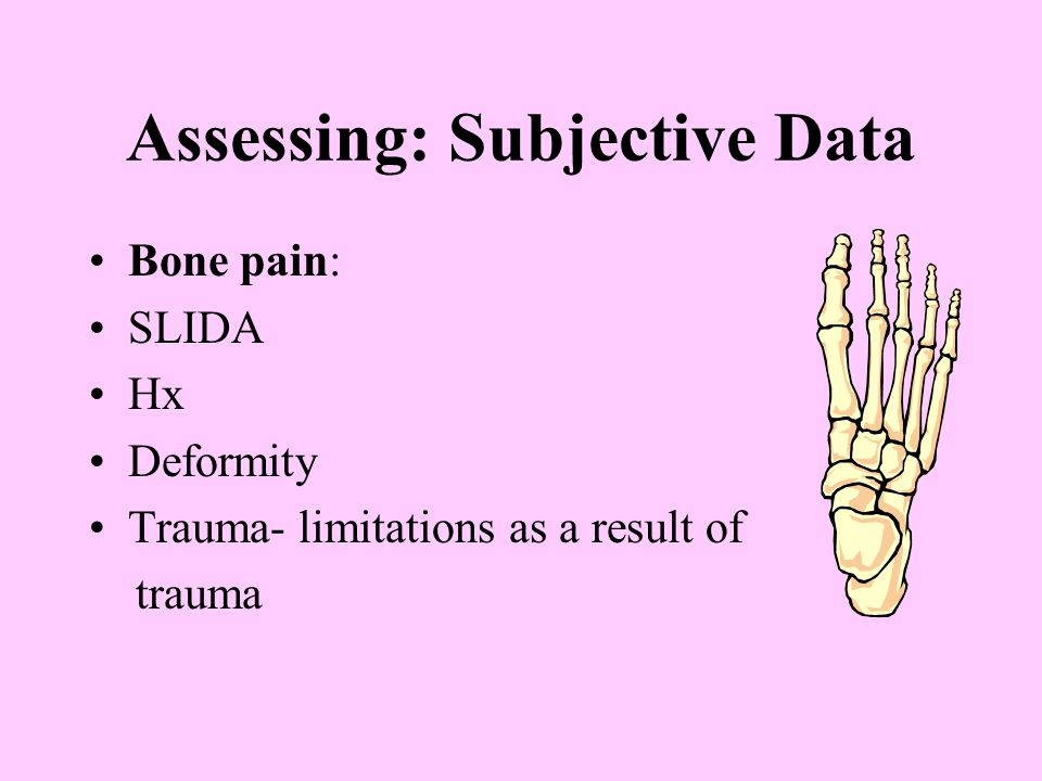 Assessing: Subjective Data Functional Assessment: ADL's- does MS problem create limits: Bathing- getting in and out of tub, turning faucets Toileting- getting on/off toilet, wiping self Dressing- buttons, zippers, tying shoes Grooming- shaving, brushing teeth, putting on makeup Eating- cutting food, preparing meals etc…