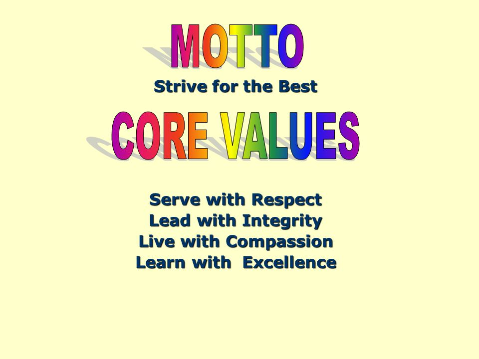 Strive for the Best Serve with Respect Lead with Integrity Live with Compassion Learn with Excellence