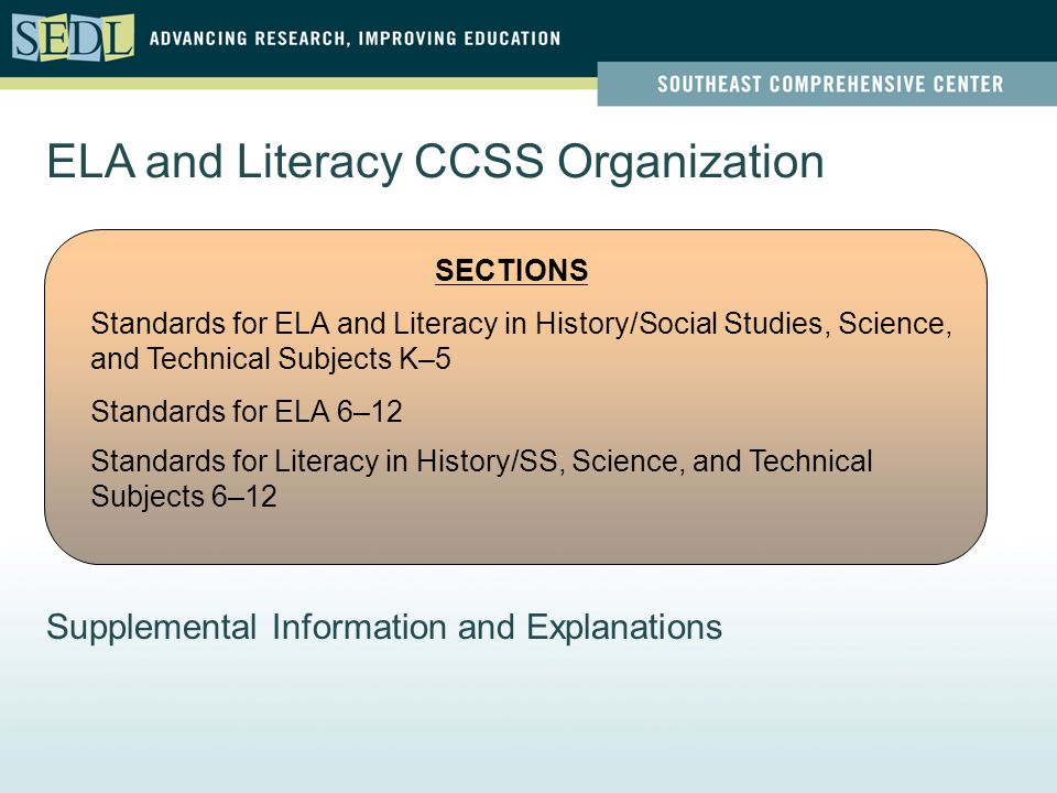 ELA and Literacy CCSS Organization SECTIONS Standards for ELA and Literacy in History/Social Studies, Science, and Technical Subjects K–5 Standards for ELA 6–12 Standards for Literacy in History/SS, Science, and Technical Subjects 6–12 Supplemental Information and Explanations