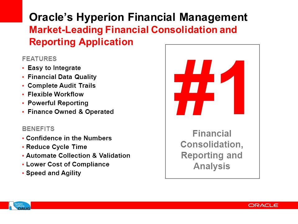 Oracle's Hyperion Financial Management Market-Leading Financial Consolidation and Reporting Application #1 Financial Consolidation, Reporting and Anal