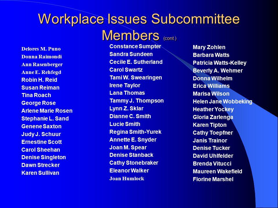 Workplace Issues Subcommittee Members Micaela, M Aigner-Jacobs Nancy Allen Loretta Beckman Stephanie Bernard Susan D.