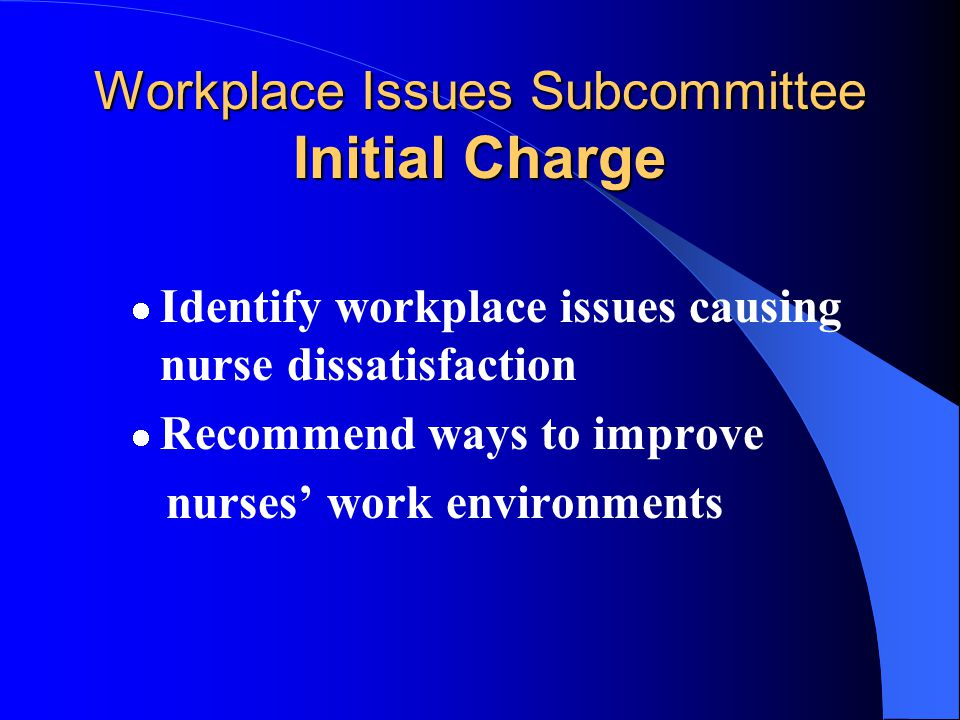 Workplace Issues Subcommittee Members (cont.) Constance Sumpter Sandra Sundeen Cecile E.
