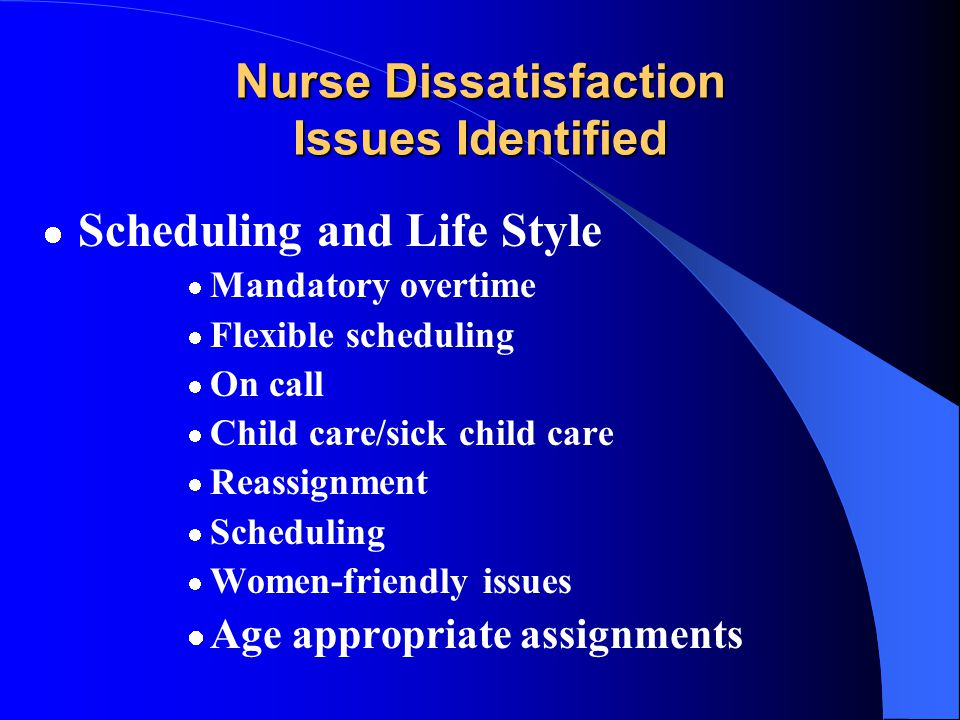 Workplace Issues Subcommittee Initial Charge Identify workplace issues causing nurse dissatisfaction Recommend ways to improve nurses' work environmen