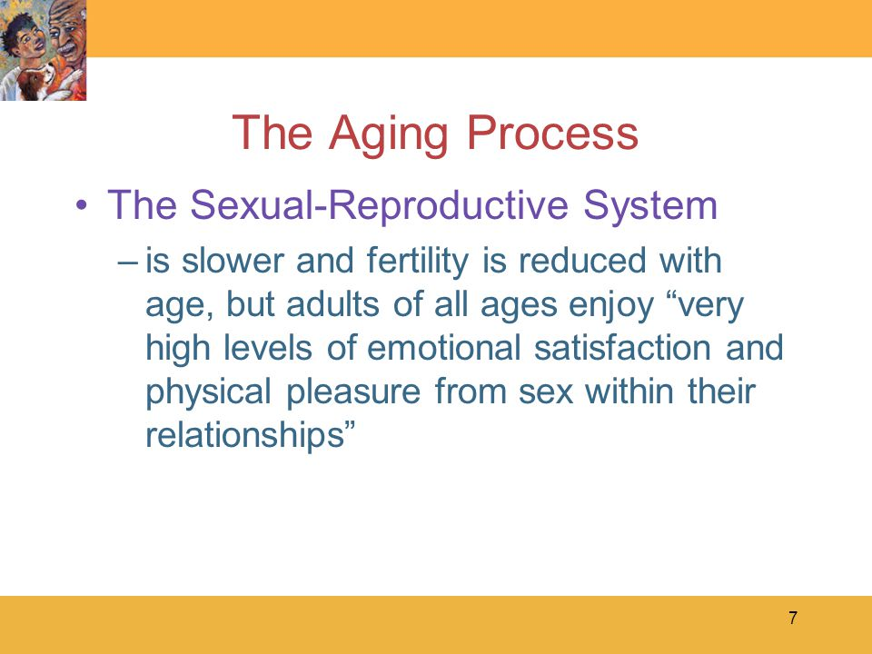 7 The Aging Process The Sexual-Reproductive System –is slower and fertility is reduced with age, but adults of all ages enjoy very high levels of emotional satisfaction and physical pleasure from sex within their relationships