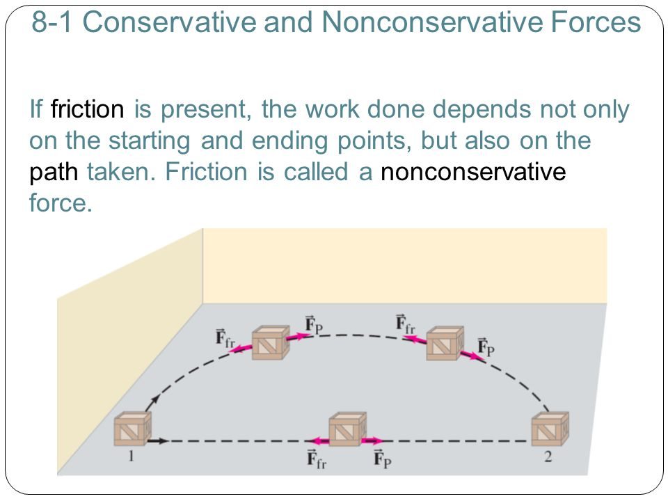8-1 Conservative and Nonconservative Forces If friction is present, the work done depends not only on the starting and ending points, but also on the