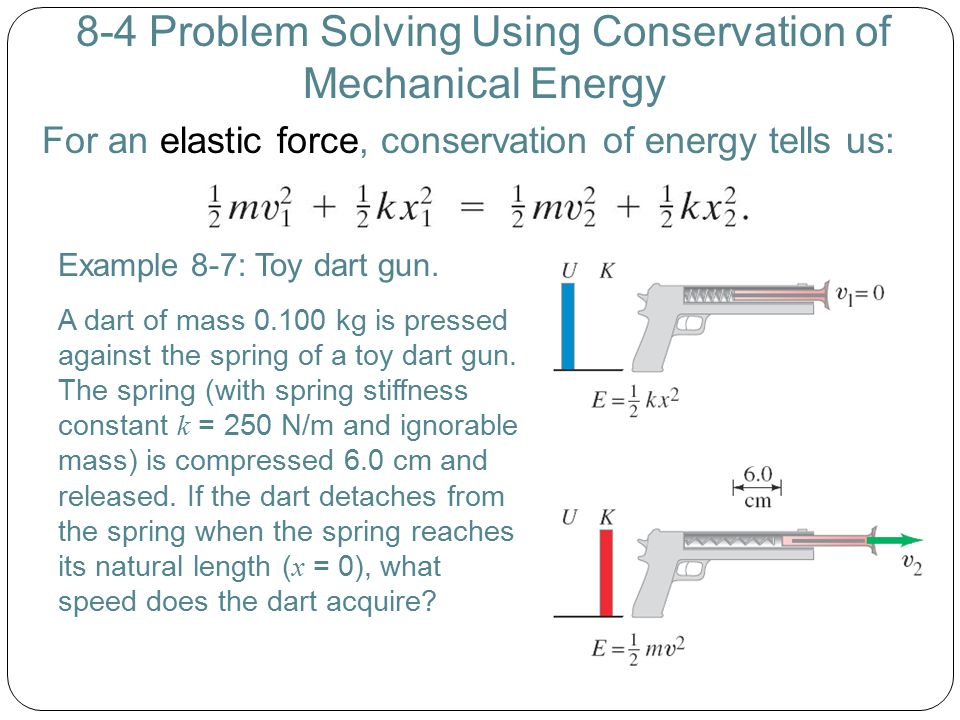 8-4 Problem Solving Using Conservation of Mechanical Energy For an elastic force, conservation of energy tells us: Example 8-7: Toy dart gun. A dart o