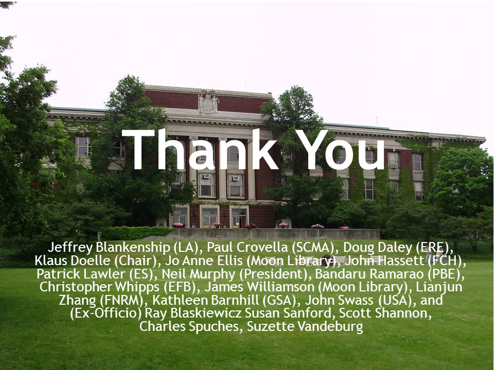 Thank You Jeffrey Blankenship (LA), Paul Crovella (SCMA), Doug Daley (ERE), Klaus Doelle (Chair), Jo Anne Ellis (Moon Library), John Hassett (FCH), Patrick Lawler (ES), Neil Murphy (President), Bandaru Ramarao (PBE), Christopher Whipps (EFB), James Williamson (Moon Library), Lianjun Zhang (FNRM), Kathleen Barnhill (GSA), John Swass (USA), and (Ex-Officio) Ray Blaskiewicz Susan Sanford, Scott Shannon, Charles Spuches, Suzette Vandeburg