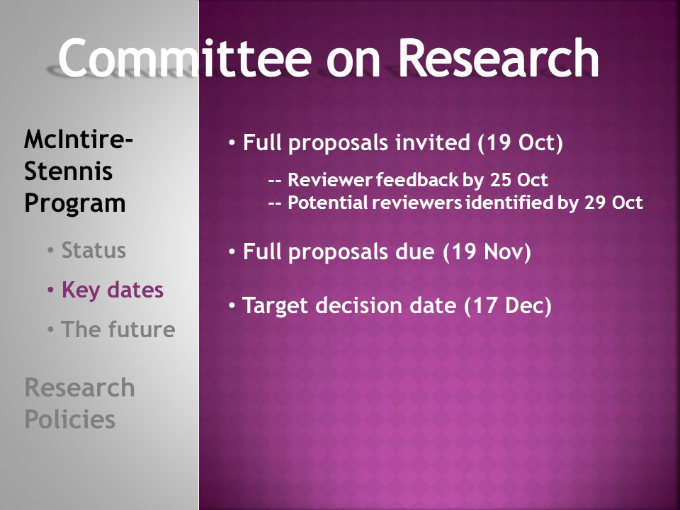 Revised scope and intent following lead of national program Shifting focus towards seed funds -- assessment of future funding potential -- fit within longer-term research plans Renewed focus on grad training -- no carry-over Advisory board involvement McIntire- Stennis Program Status Key dates The future Research Policies