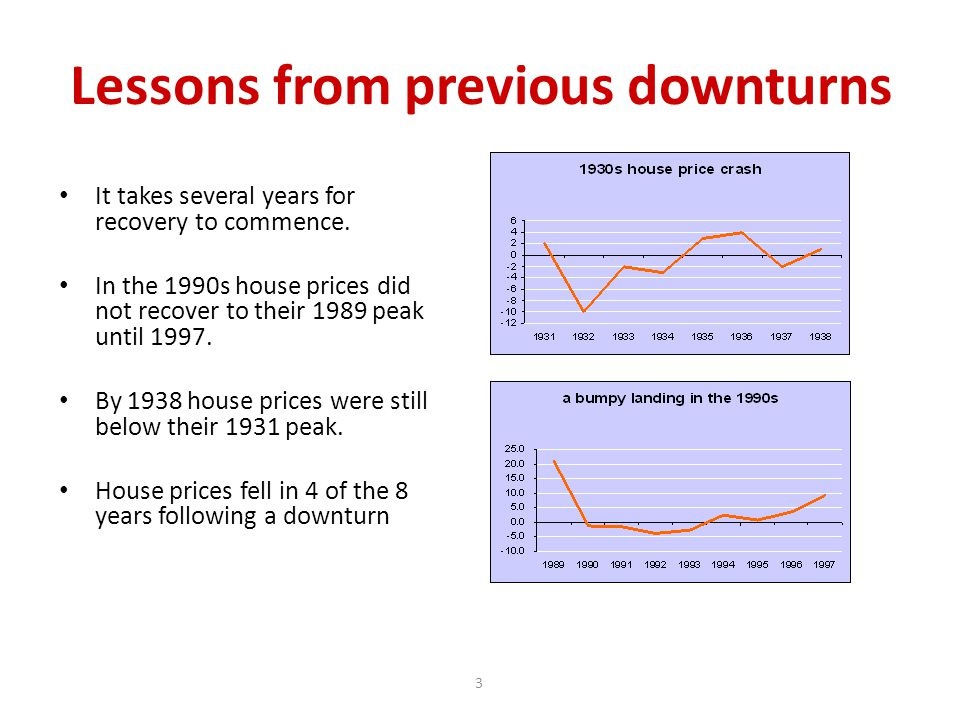 3 Lessons from previous downturns It takes several years for recovery to commence.