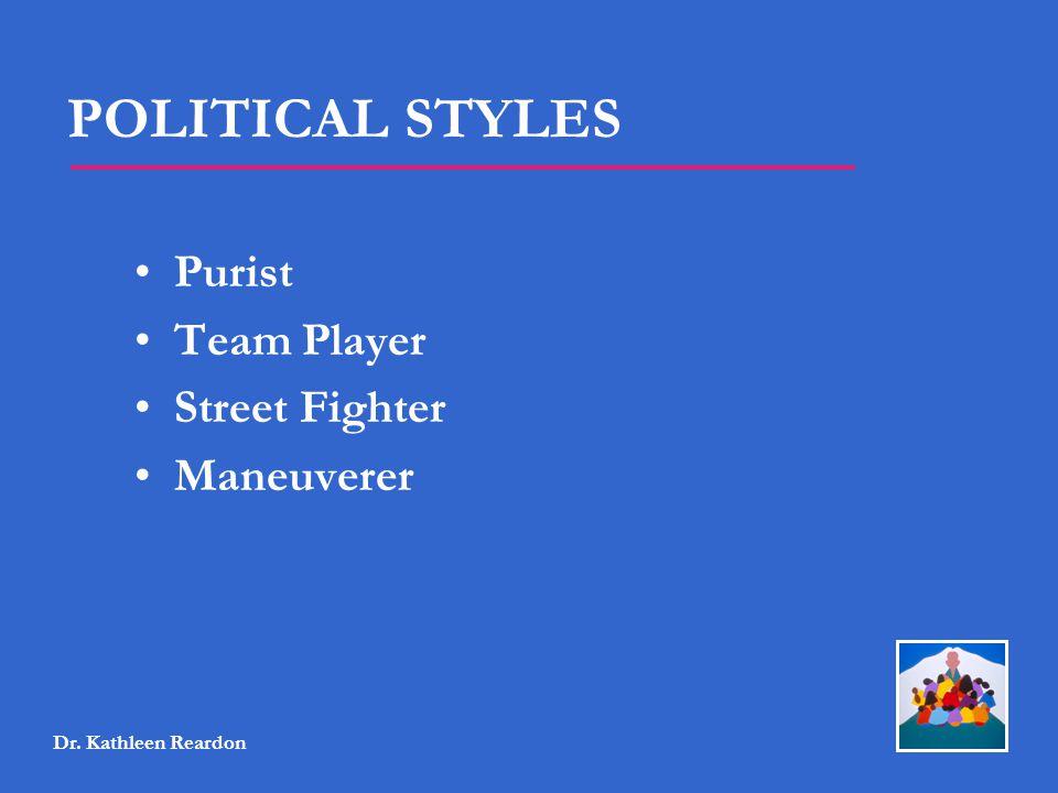 POLITICAL STYLES Purist Team Player Street Fighter Maneuverer Dr. Kathleen Reardon