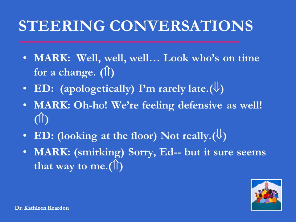 STEERING CONVERSATIONS MARK: Well, well, well… Look who's on time for a change. (  ) ED: (apologetically) I'm rarely late.(  ) MARK: Oh-ho! We're fe