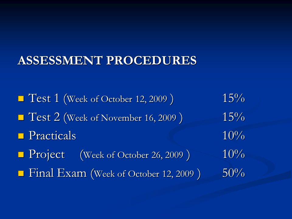 ASSESSMENT PROCEDURES Test 1 ( Week of October 12, 2009 )15% Test 1 ( Week of October 12, 2009 )15% Test 2 ( Week of November 16, 2009 ) 15% Test 2 (