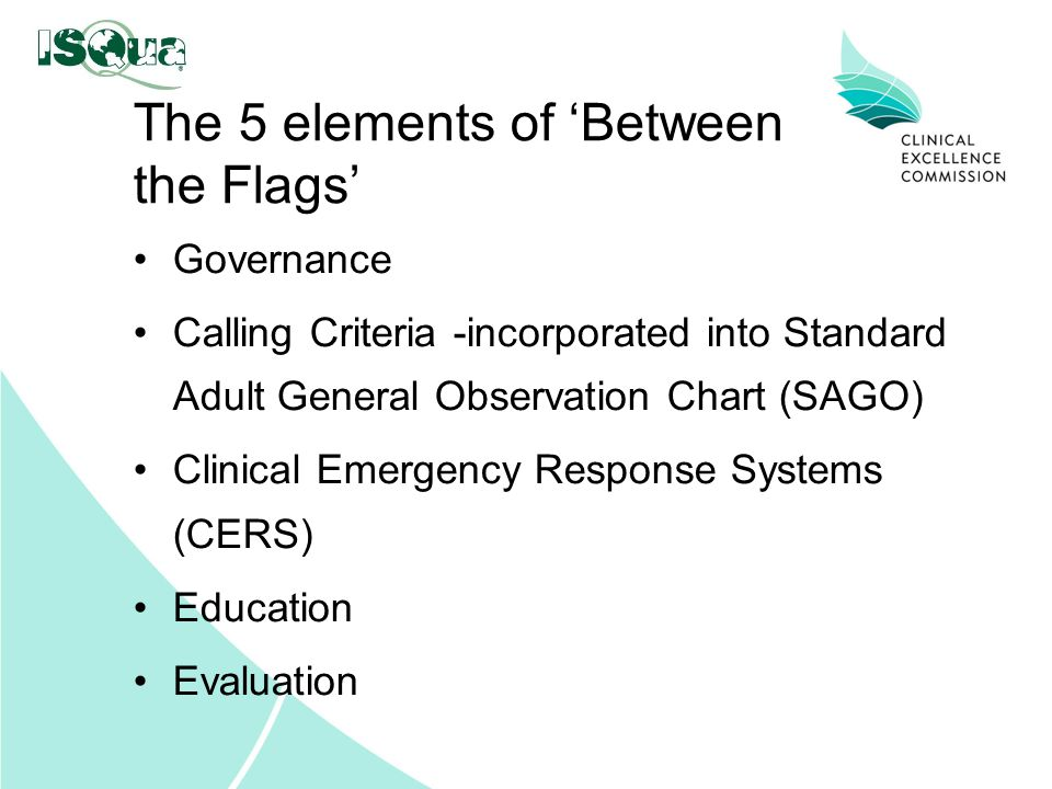 The 5 elements of 'Between the Flags' Governance Calling Criteria -incorporated into Standard Adult General Observation Chart (SAGO) Clinical Emergenc
