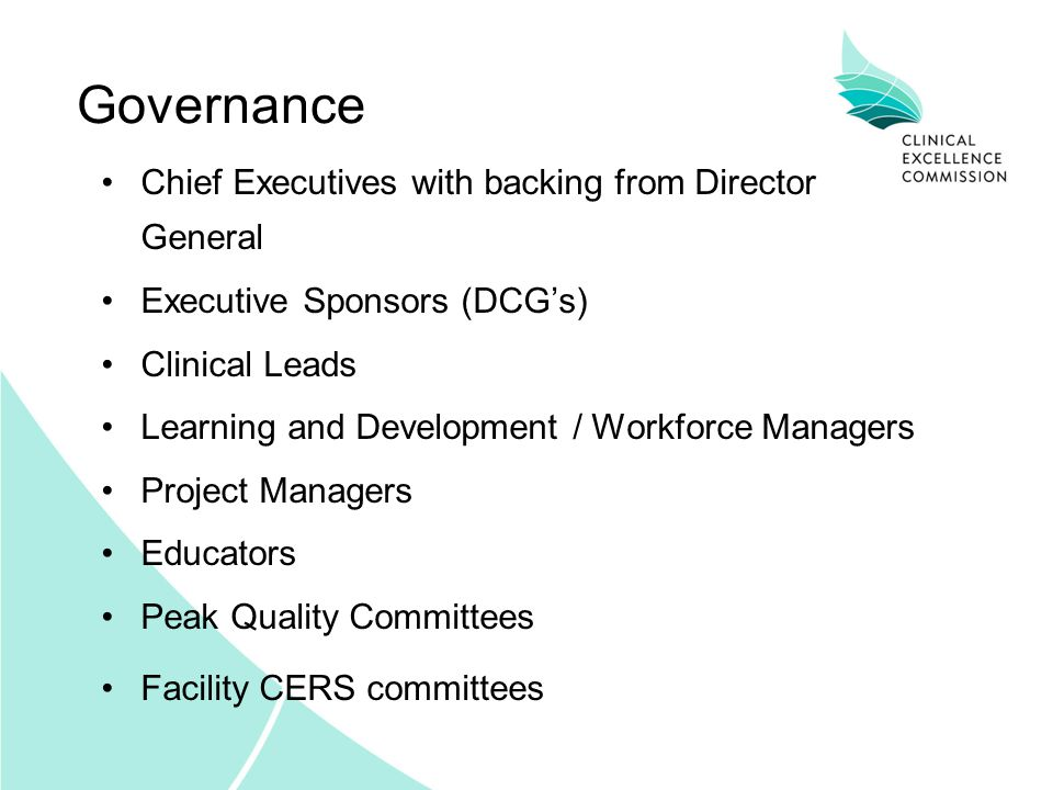 Governance Chief Executives with backing from Director General Executive Sponsors (DCG's) Clinical Leads Learning and Development / Workforce Managers