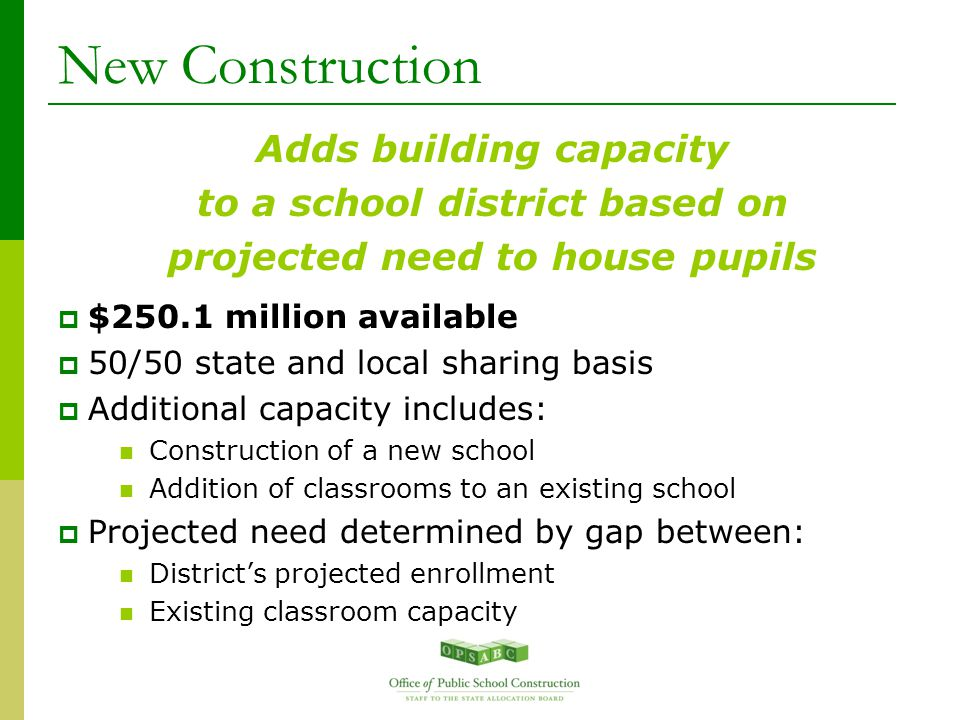 New Construction Adds building capacity to a school district based on projected need to house pupils  $250.1 million available  50/50 state and local sharing basis  Additional capacity includes: Construction of a new school Addition of classrooms to an existing school  Projected need determined by gap between: District's projected enrollment Existing classroom capacity