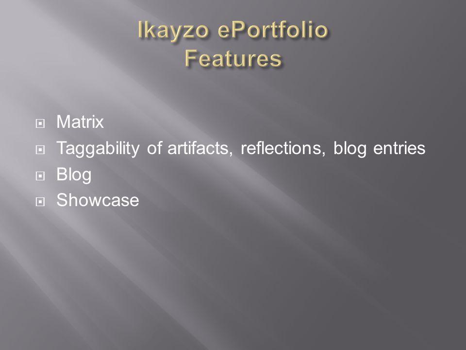  Matrix  Taggability of artifacts, reflections, blog entries  Blog  Showcase