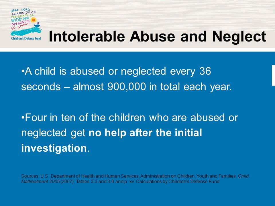 Intolerable Abuse and Neglect A child is abused or neglected every 36 seconds – almost 900,000 in total each year. Four in ten of the children who are