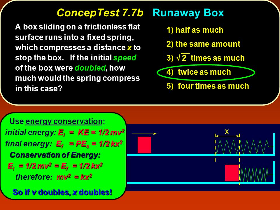 x ConcepTest 7.7b ConcepTest 7.7b Runaway Box Use energy conservation: E i = KE = 1/2 mv 2 initial energy: E i = KE = 1/2 mv 2 E f = PE s = 1/2 kx 2 final energy: E f = PE s = 1/2 kx 2 Conservation of Energy: Conservation of Energy: E i = 1/2 mv 2 = E f = 1/2 kx 2 E i = 1/2 mv 2 = E f = 1/2 kx 2 mv 2 = kx 2 therefore: mv 2 = kx 2 So if v doubles, x doubles.