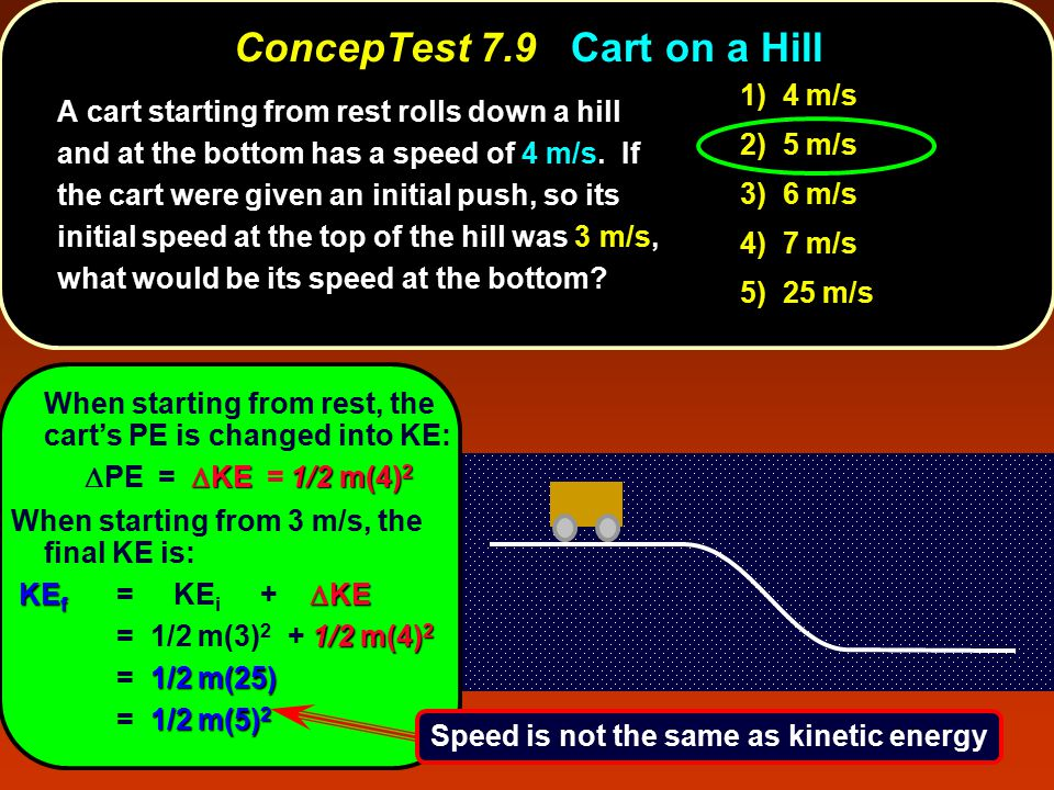 ConcepTest 7.9 ConcepTest 7.9 Cart on a Hill l When starting from rest, the cart's PE is changed into KE:  KE1/2 m(4) 2  PE =  KE = 1/2 m(4) 2 A cart starting from rest rolls down a hill and at the bottom has a speed of 4 m/s.