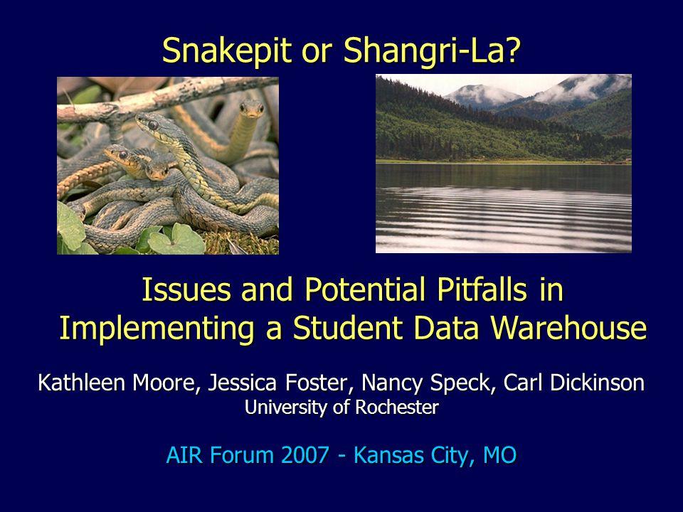 Snakepit or Shangri-La? Kathleen Moore, Jessica Foster, Nancy Speck, Carl Dickinson University of Rochester AIR Forum 2007 - Kansas City, MO Issues an