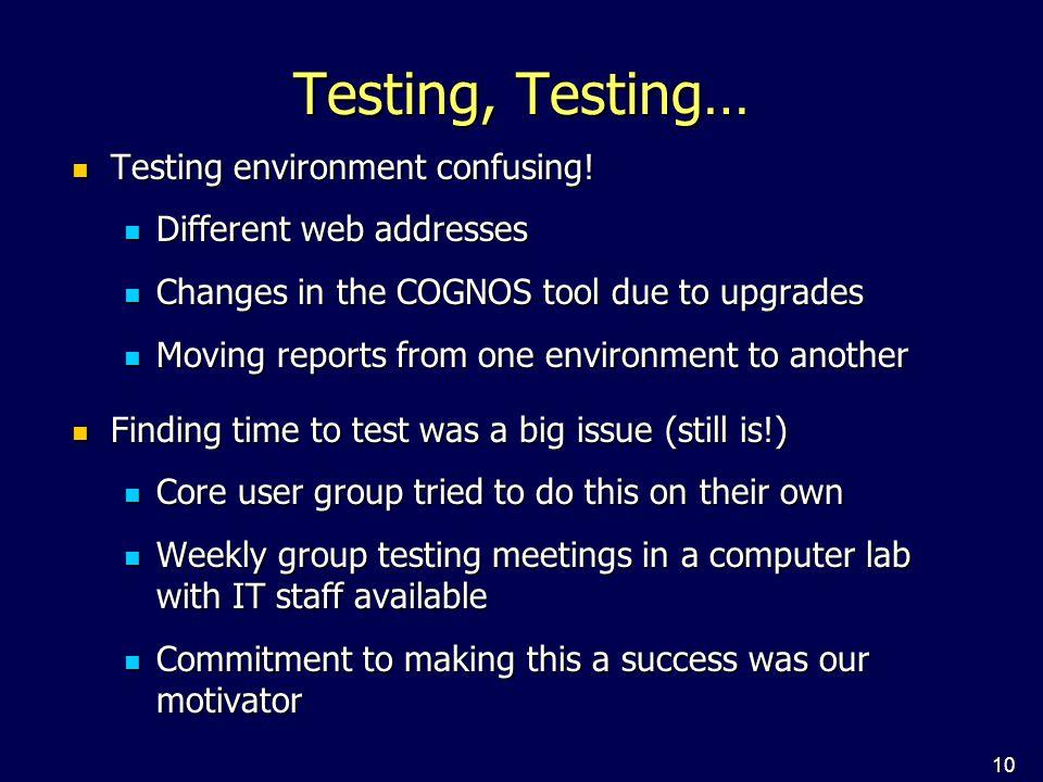 10 Testing, Testing… Testing environment confusing! Testing environment confusing! Different web addresses Different web addresses Changes in the COGN