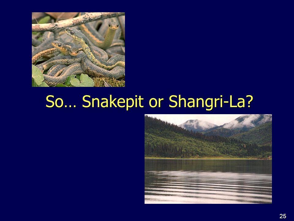 25 So… Snakepit or Shangri-La?