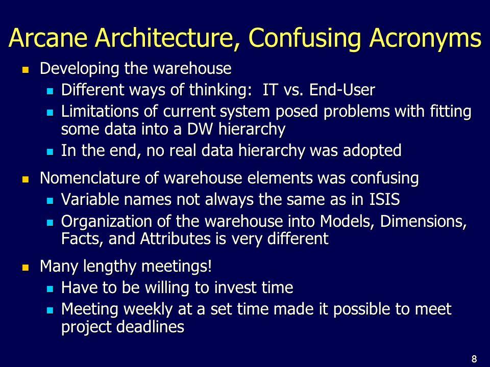 8 Arcane Architecture, Confusing Acronyms Developing the warehouse Developing the warehouse Different ways of thinking: IT vs.