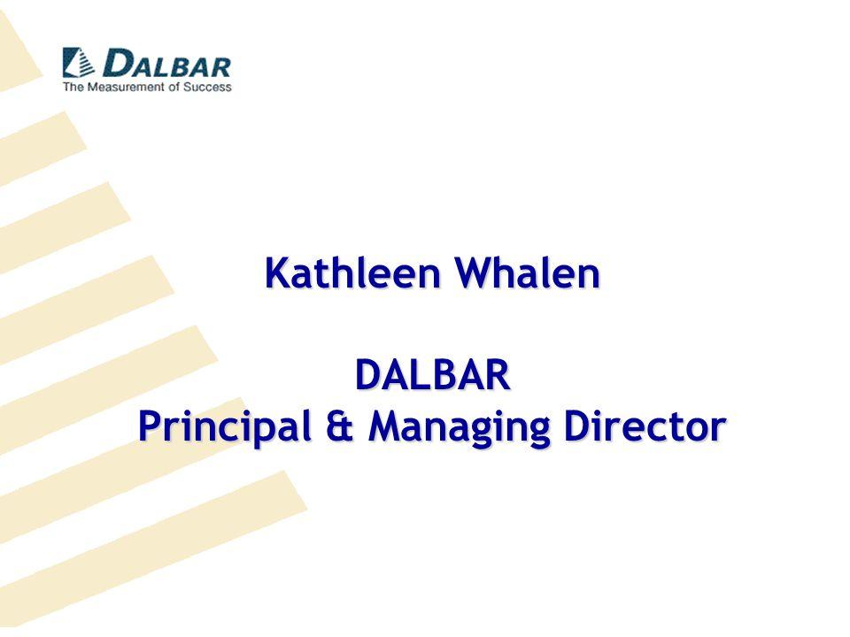 D ALBAR The Measurement of Success 617-723-6400DALBAR.COM Kathleen Whalen DALBAR Principal & Managing Director