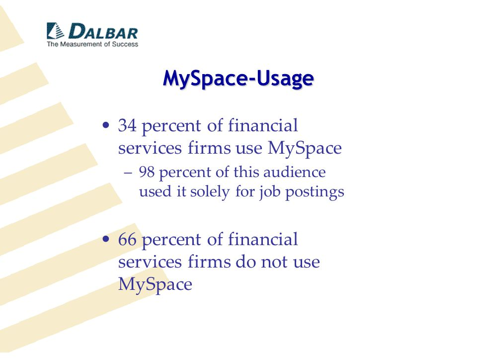 MySpace-Usage 34 percent of financial services firms use MySpace –98 percent of this audience used it solely for job postings 66 percent of financial services firms do not use MySpace