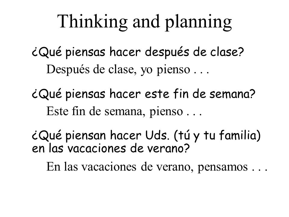 Thinking and planning ¿Qué piensas hacer después de clase.