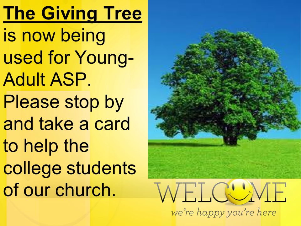 The Giving Tree is now being used for Young- Adult ASP. Please stop by and take a card to help the college students of our church.