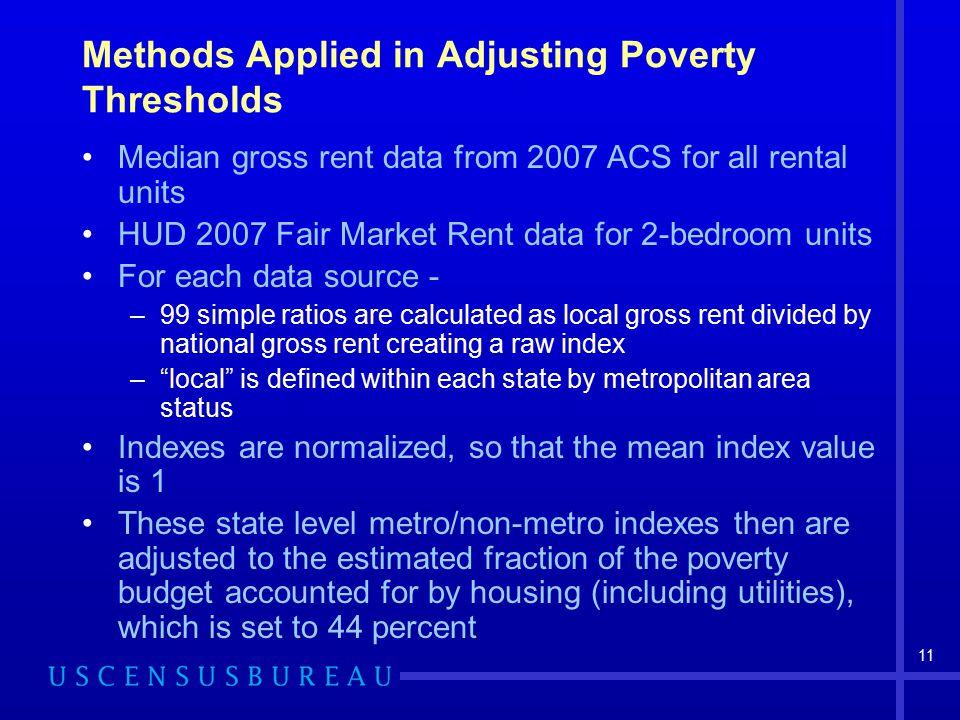 11 Methods Applied in Adjusting Poverty Thresholds Median gross rent data from 2007 ACS for all rental units HUD 2007 Fair Market Rent data for 2-bedr