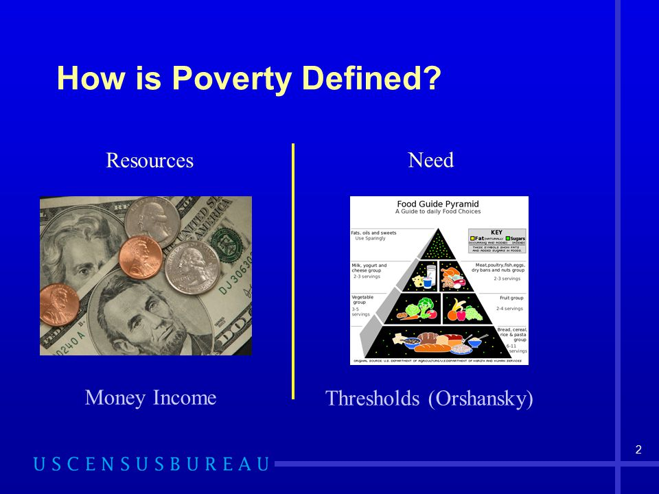 2 How is Poverty Defined? Resources Need Money Income Thresholds (Orshansky)