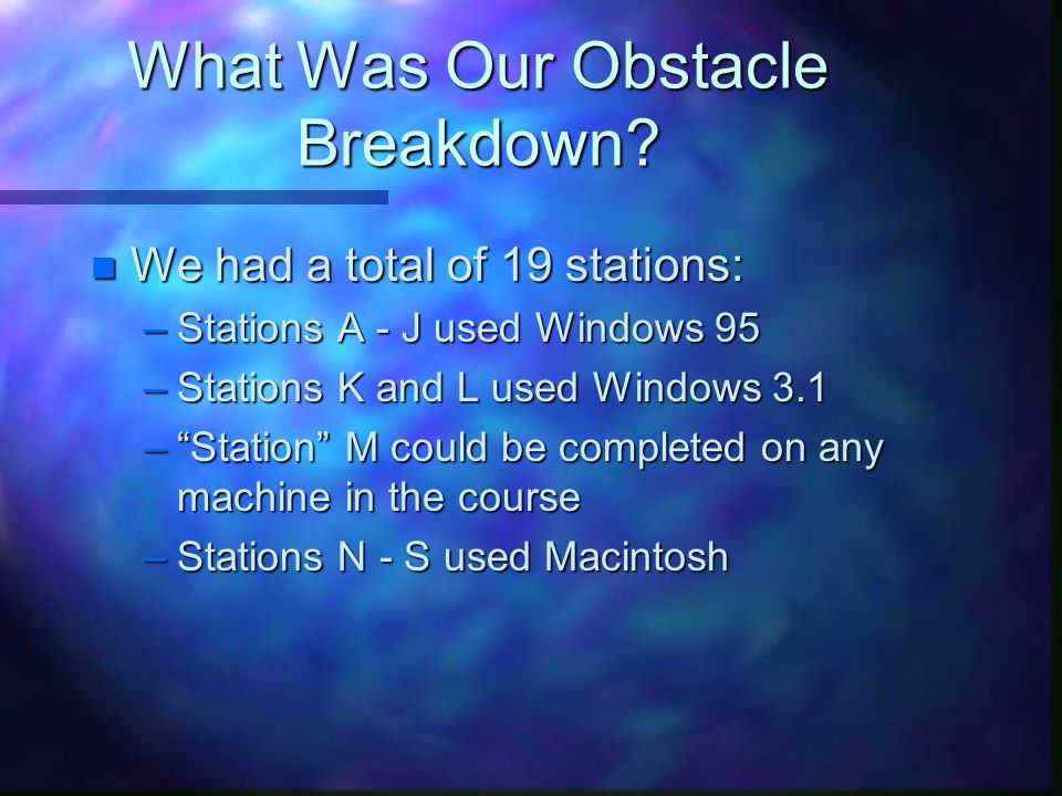 What Was Our Obstacle Breakdown.