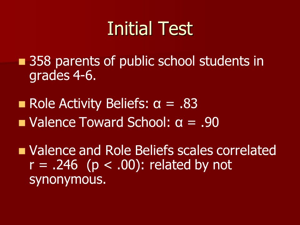 Initial Test 358 parents of public school students in grades 4-6.