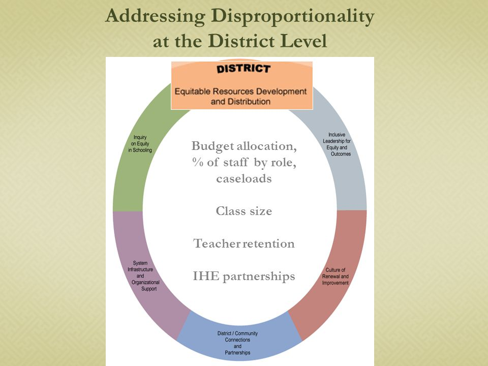 Budget allocation, % of staff by role, caseloads Class size Teacher retention IHE partnerships Addressing Disproportionality at the District Level