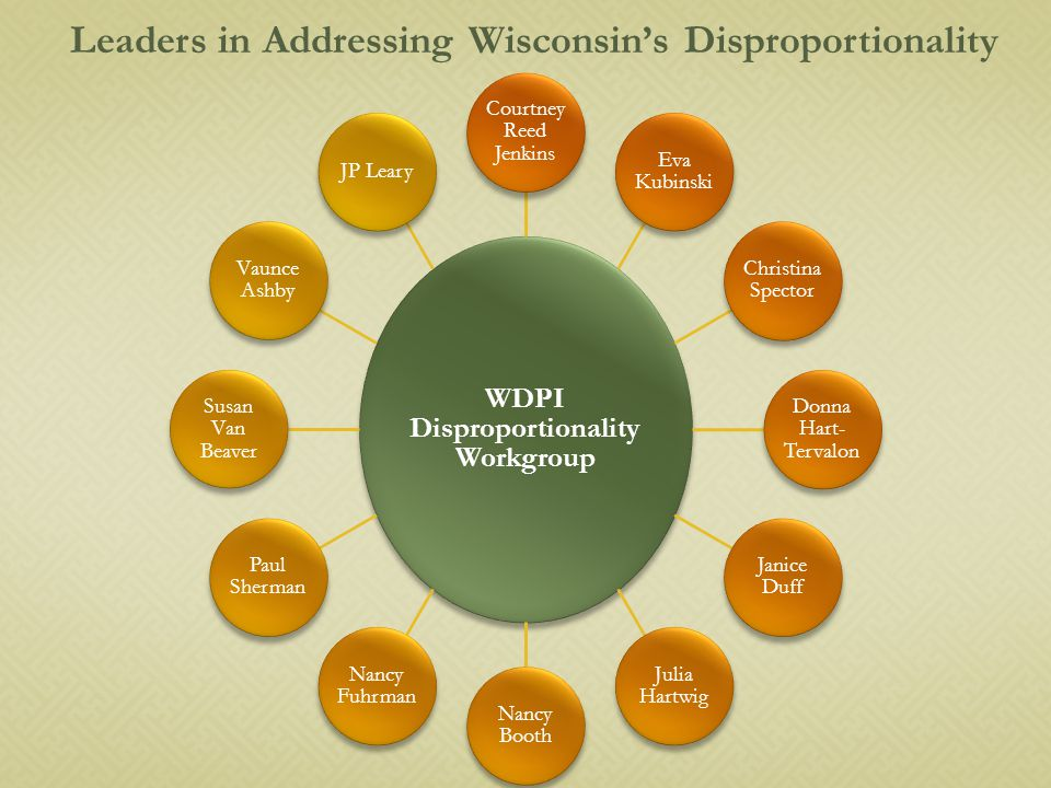 Leaders in Addressing Wisconsin's Disproportionality WDPI Disproportionality Workgroup Courtney Reed Jenkins Eva Kubinski Christina Spector Donna Hart- Tervalon Janice Duff Julia Hartwig Nancy Booth Nancy Fuhrman Paul Sherman Susan Van Beaver Vaunce Ashby JP Leary
