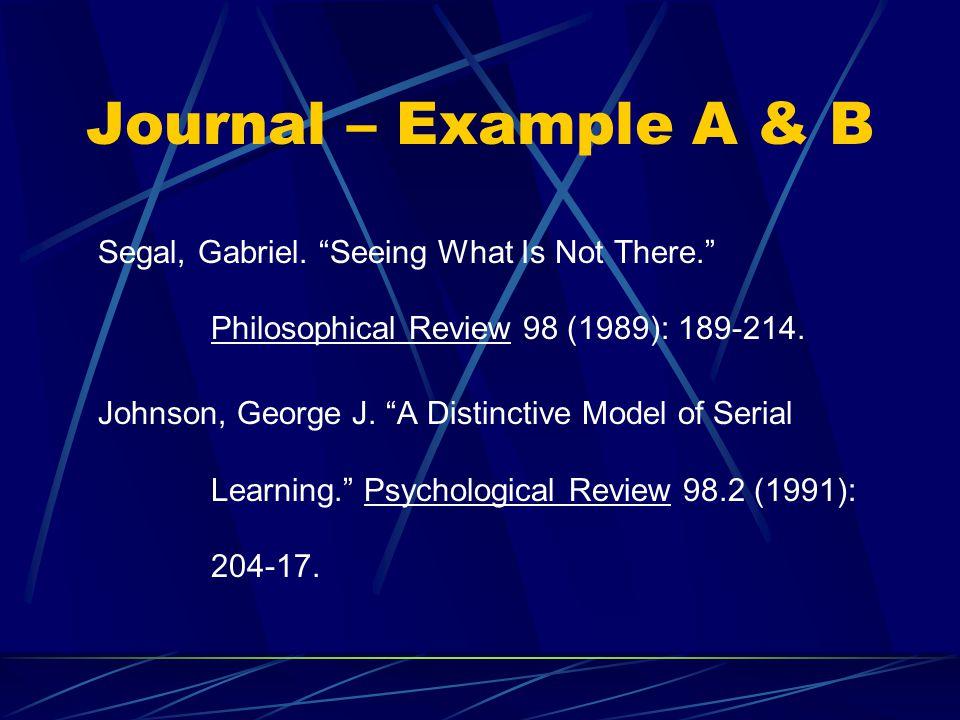 Journal – Example A & B Segal, Gabriel.