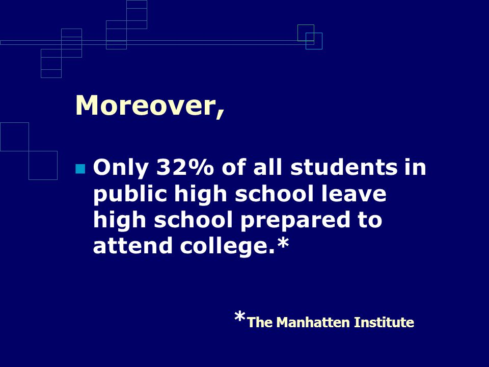 Moreover, Only 32% of all students in public high school leave high school prepared to attend college.* * The Manhatten Institute