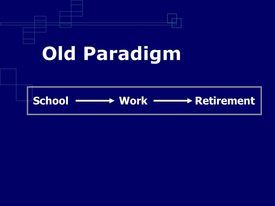 Old Paradigm School Work Retirement