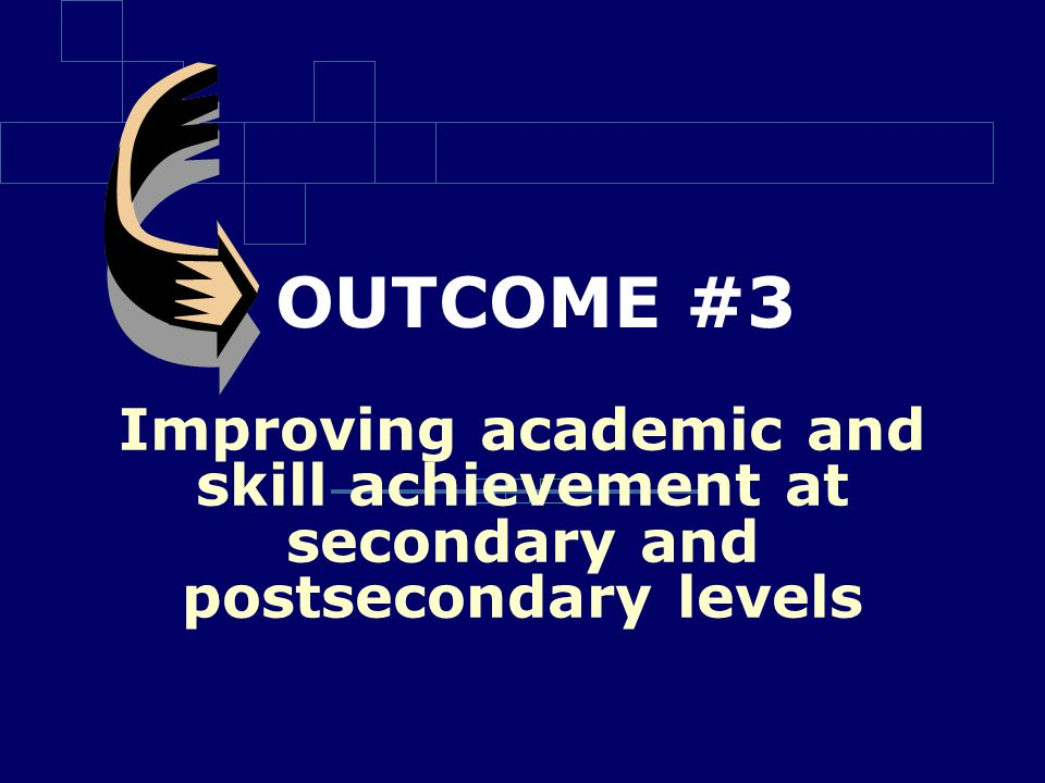 OUTCOME #3 Improving academic and skill achievement at secondary and postsecondary levels