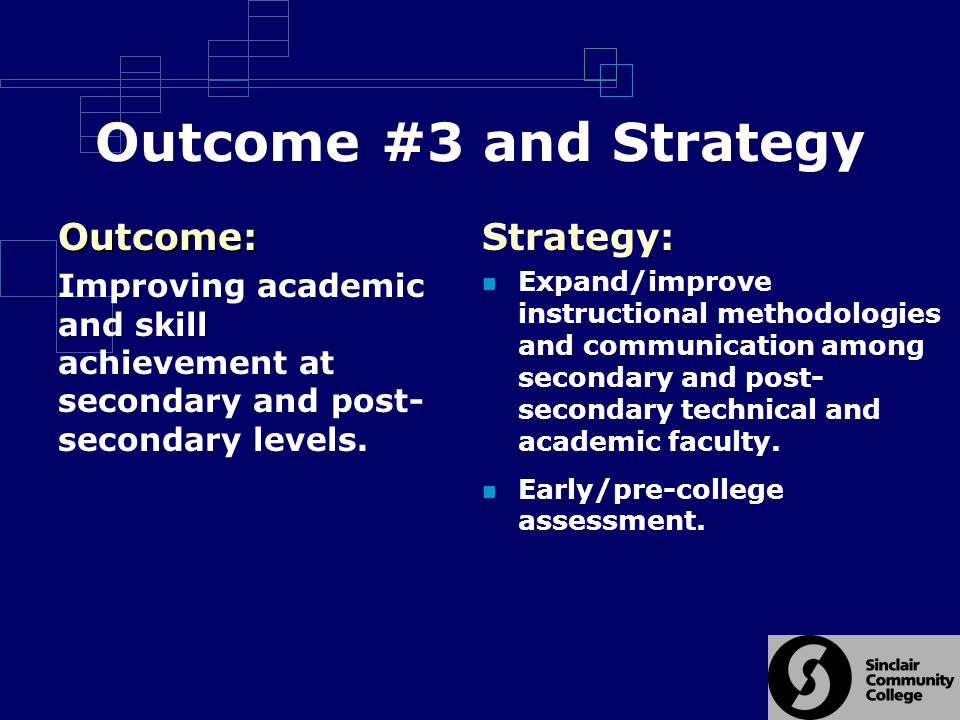 Outcome #3 and Strategy Strategy: Expand/improve instructional methodologies and communication among secondary and post- secondary technical and academic faculty.