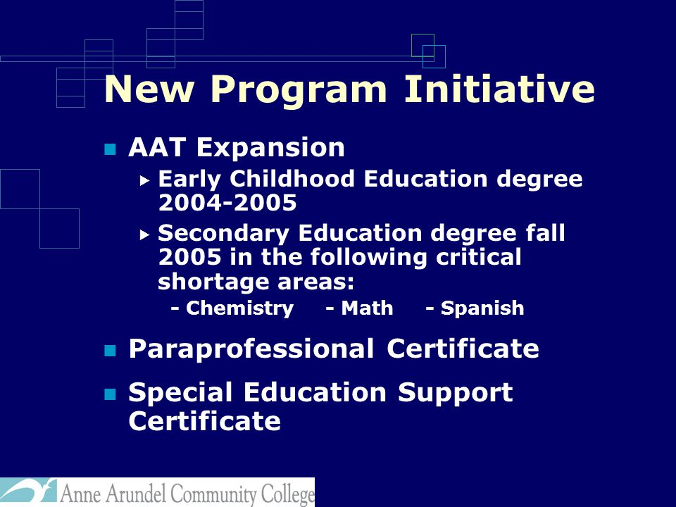 New Program Initiative AAT Expansion  Early Childhood Education degree 2004-2005  Secondary Education degree fall 2005 in the following critical shortage areas: - Chemistry - Math - Spanish Paraprofessional Certificate Special Education Support Certificate