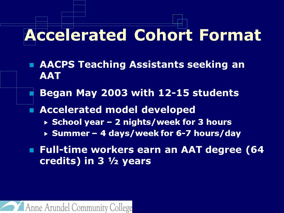 Accelerated Cohort Format AACPS Teaching Assistants seeking an AAT Began May 2003 with 12-15 students Accelerated model developed  School year – 2 nights/week for 3 hours  Summer – 4 days/week for 6-7 hours/day Full-time workers earn an AAT degree (64 credits) in 3 ½ years