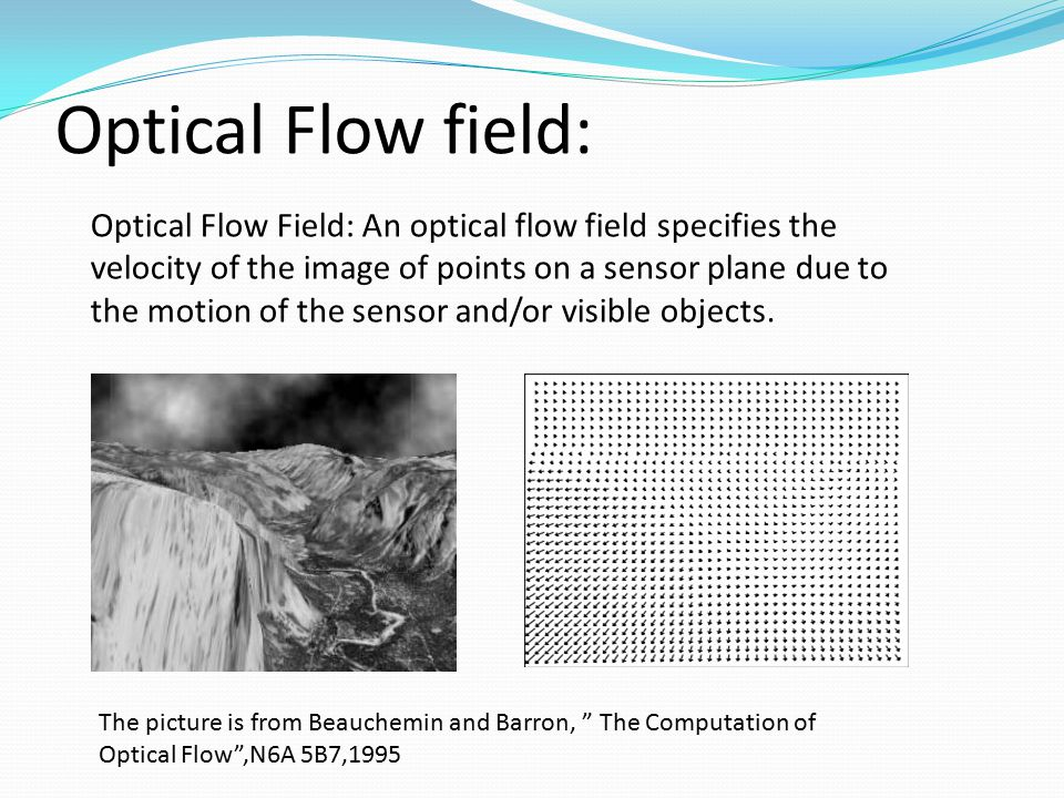 Optical Flow field: Optical Flow Field: An optical flow field specifies the velocity of the image of points on a sensor plane due to the motion of the
